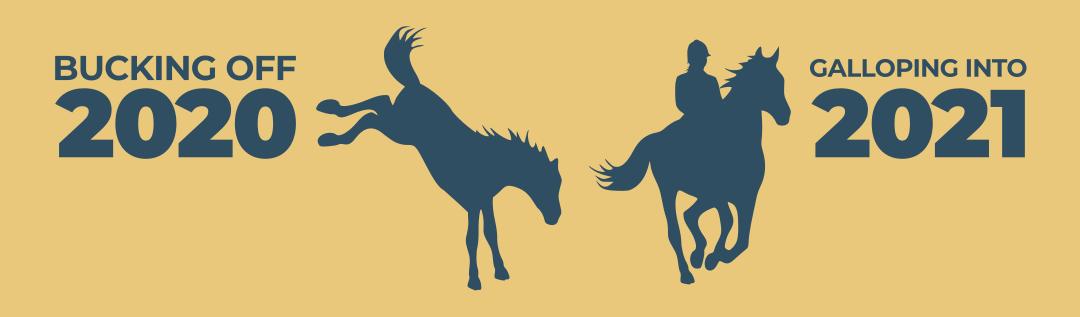 Bucking Off 2020, Riding Into 2021 (a horse kicking 2020, a person riding a horse towards 2021)